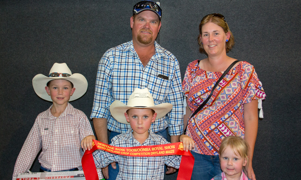 The Peters family at this year's Toowoomba Show. Back - Shane and Tabitha Peters. Front - William, Tom and Kate Peters. Image courtesy of Pacific Seeds