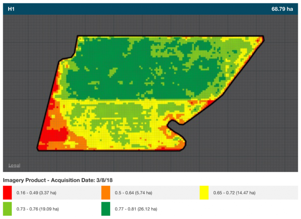 An NDVI image of the trial site showing the differences in biomass between Hyola 404RR (dark green) and Bonito (light green and yellow).