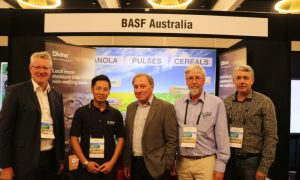 Dr Steve Jefferies, Managing Director, GRDC, William Huynh, Divine Product Manager, BASF, Professor David Mainwaring, Faculty of Science, Engineering and Technology, Swinburne University, Rohan Ford, GRDC and Professor Daniel Murphy, Head of University of WA School of Agriculture and Environment at the 2019 Perth GRDC Update.