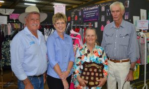 Pacific Seeds' Bill Smith and Pauline Twidale with dryland sorghum winners Chris and Phil Moar.